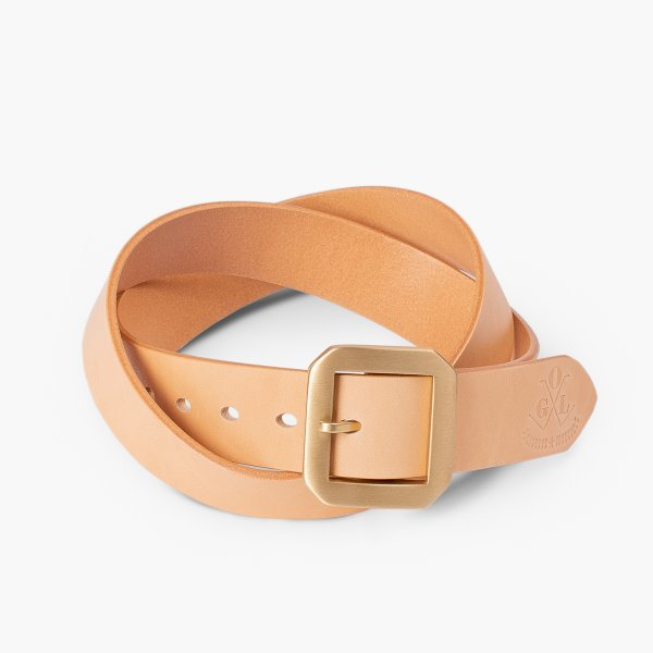 OGL Single Prong Garrison Buckle Leather Belt - Natural
