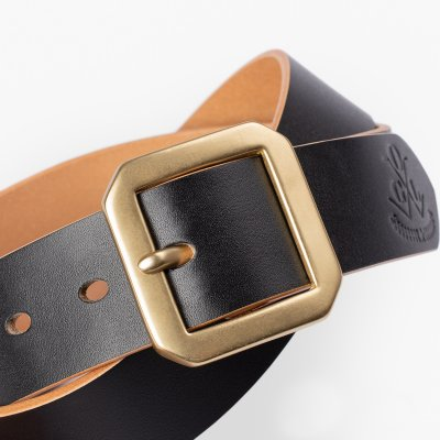 OGL Single Prong Garrison Buckle Leather Belt - Hand-Dyed Black