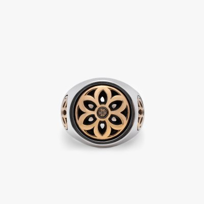GOOD ART HLYWD Club Ring Two Tone Size Medium - Sterling Silver w/ Gold Rosettes