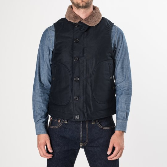 Navy Alpaca Lined Whipcord N1 Deck Vest