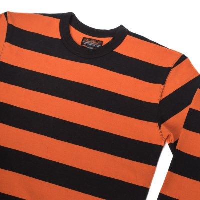 11oz Cotton Knit Long-Sleeved Sweater - Orange/Black