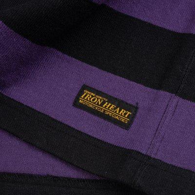11oz Cotton Knit Long-Sleeved Sweater - Purple/Black