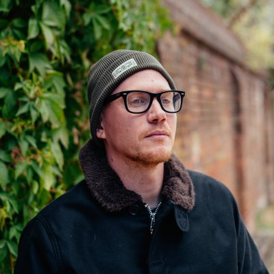100% Cotton Ribbed Beanie - Olive