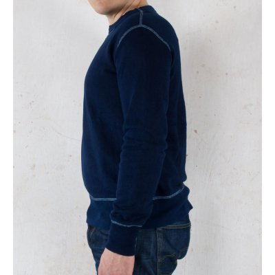 Indigo Dipped Loop Wheeled Crew Neck Sweat