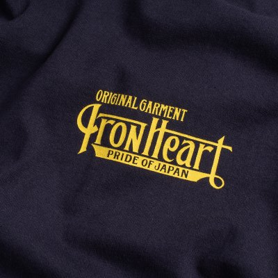 6.5oz Printed Loopwheel Crew Neck Long Sleeved T-Shirt - Navy
