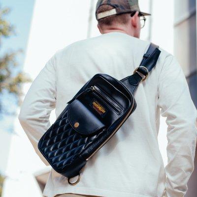 Black Rectangular Leather Diamond Stitched Shoulder Bag