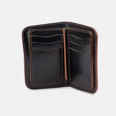 OGL Hand Stitched Shell Cordovan Mid Wallet - Black, or No. 8