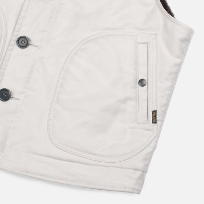 Alpaca Lined Whipcord N1 Deck Vest - Ivory