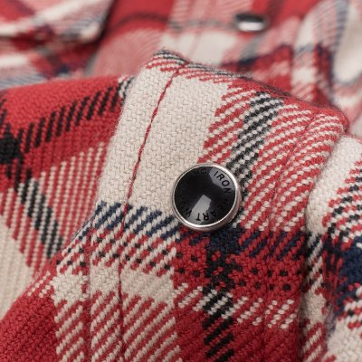 Ultra Heavy Flannel Small Block Check Western Shirt - Red