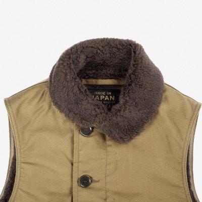 Alpaca Lined Whipcord N1 Deck Vest - Khaki