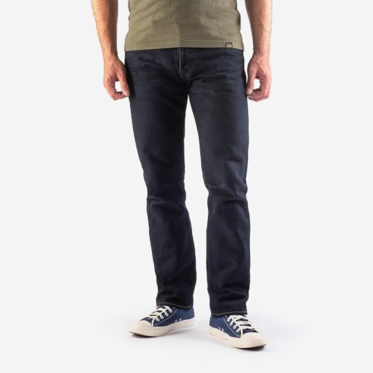 21oz Selvedge Denim Slim Tapered Cut Jeans - Indigo Overdyed Black