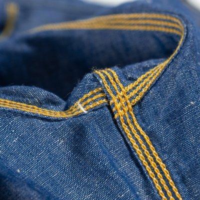 Indigo 5oz Cotton Linen Chambray Work Shirt