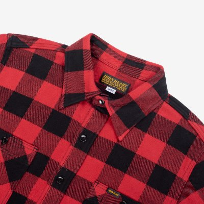 Ultra Heavy Flannel Buffalo Check Work Shirt - Red/Black