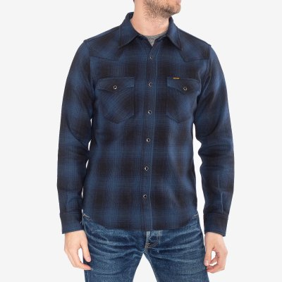 Ultra Heavy Flannel Ombré Check Western Shirt - Navy/Black