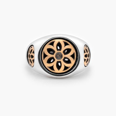 GOOD ART HLYWD Club Ring Two Tone Size Small - Sterling Silver w/ Gold Rosettes