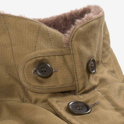 Alpaca Lined Whipcord N1 Deck Jacket - Khaki