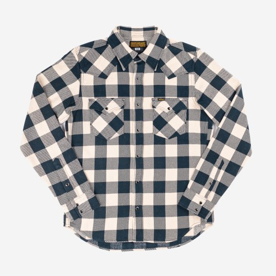 Ultra Heavy Flannel Buffalo Check Western Shirt - Navy/Ivory