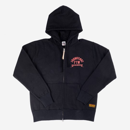 14oz Loopwheel Printed Fleece Lined Zip Up Hoodie - Black