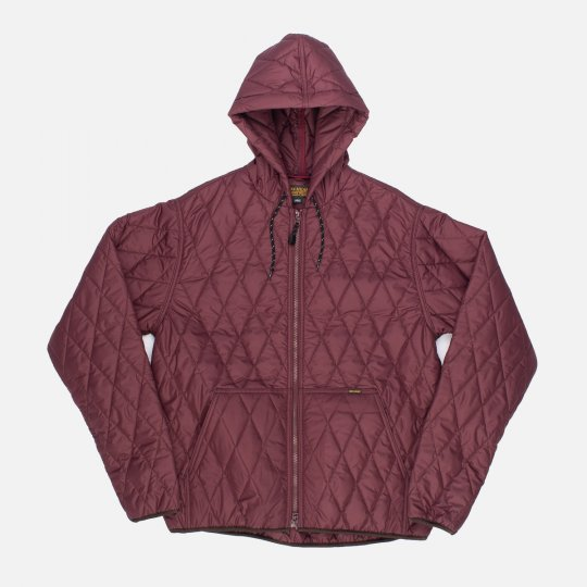 Lightweight Quilted Parka Jacket - Burgundy