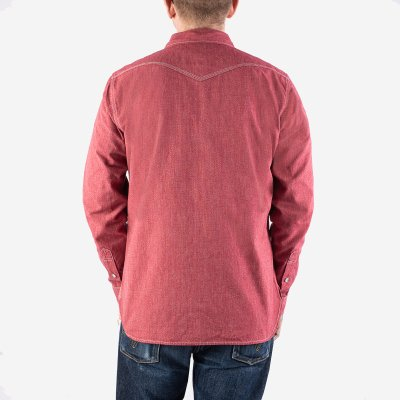 10oz Mock Twist Chambray Western Shirt - Red