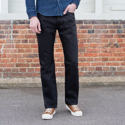 25oz Selvedge Denim Slim Straight Jeans - Black/Black