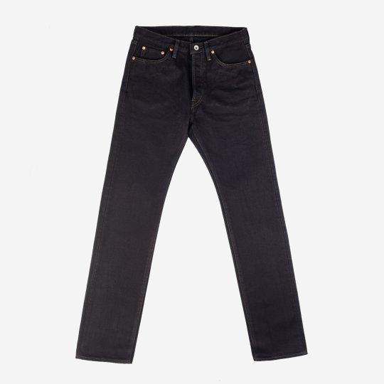 25oz Selvedge Denim Medium/High Rise Tapered Cut Jeans - Mad Black