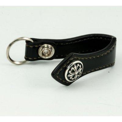 Shell Cordovan Belt Clip w/Silver Concho - Black & Oxblood