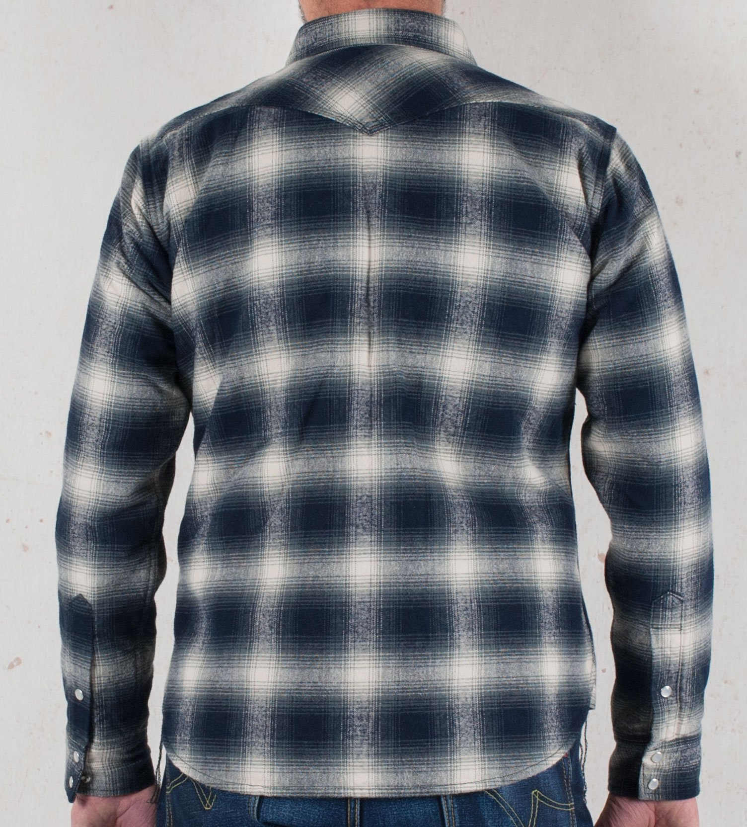 Ihsh 105 Quilt Lined Ombre Flannel Western Shirt With