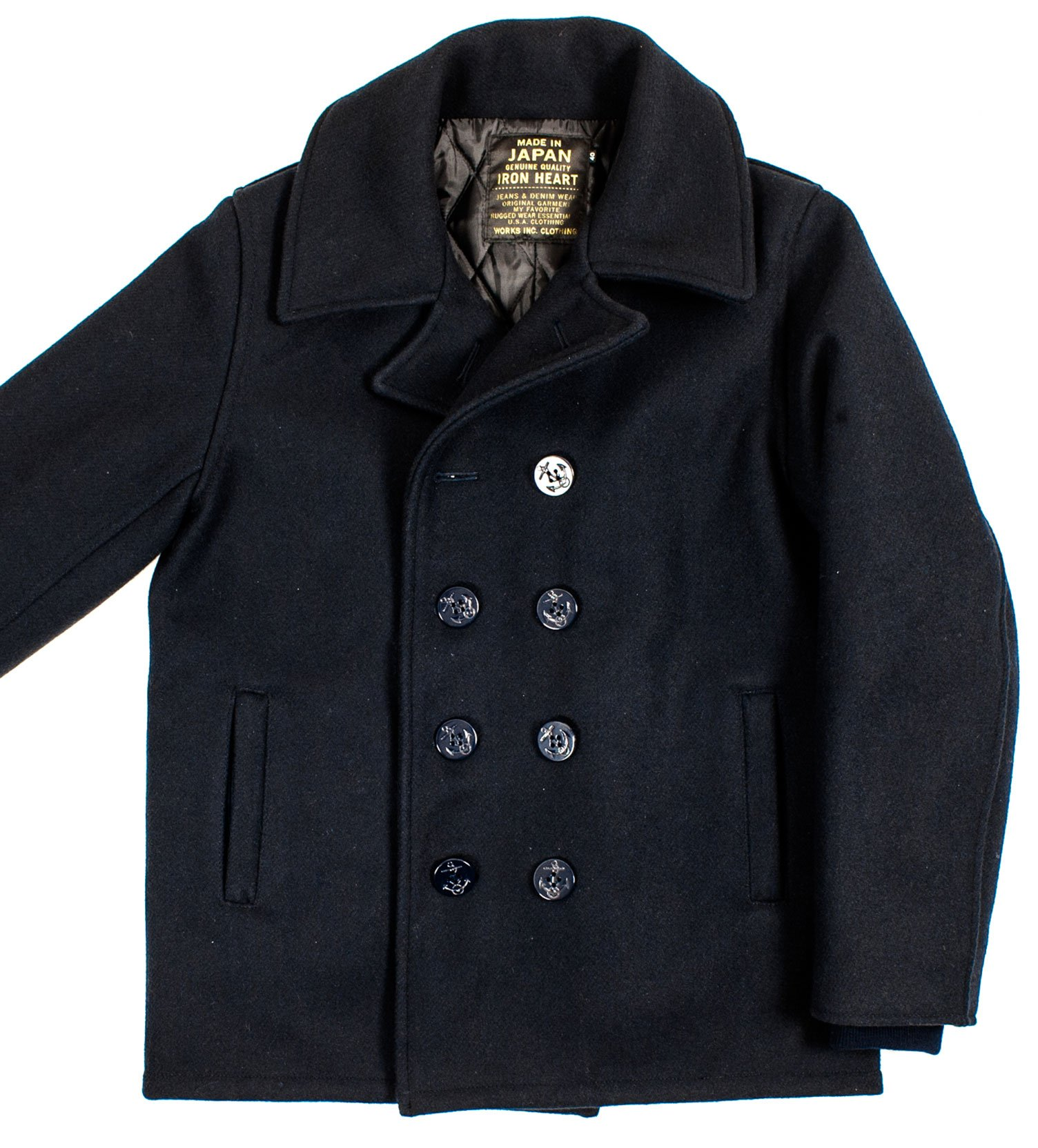 50% price first look 2019 clearance sale Navy Melton Wool Pea Coat