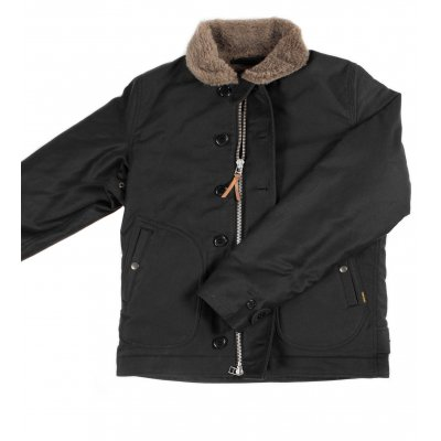 Alpaca Lined Whipcord N1 Deck Jacket - Black and Olive
