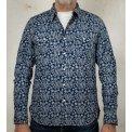 Indigo Discharge Printed Cotton Paisley Western Shirt