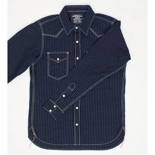 7oz Indigo/Indigo Pinstripe Western Shirt