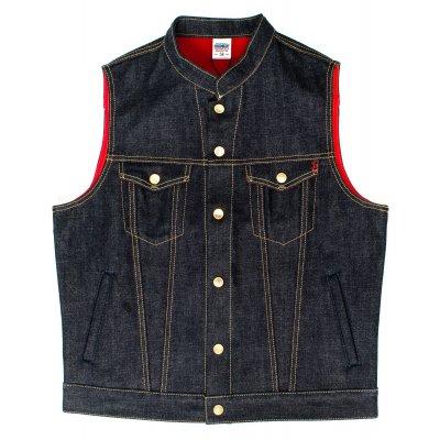18oz Raw Indigo Selvedge Denim Vest with Red Bonded Lining